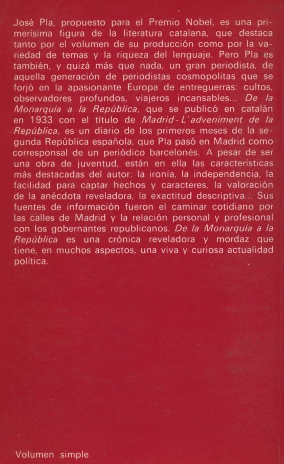 De la monarquía a la república - Josep Pla a bratac.cat