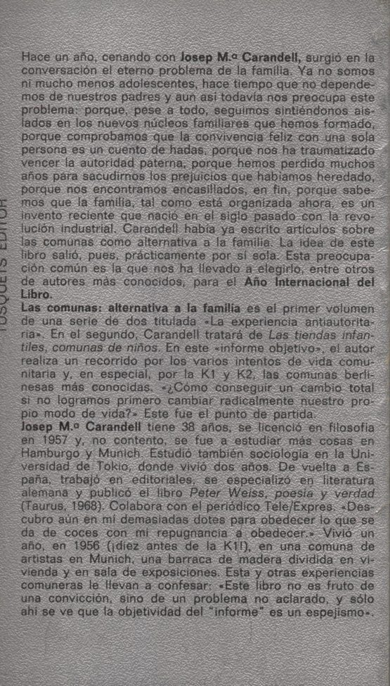 Las comunas. Alternativa a la familia - José Ma Carandell