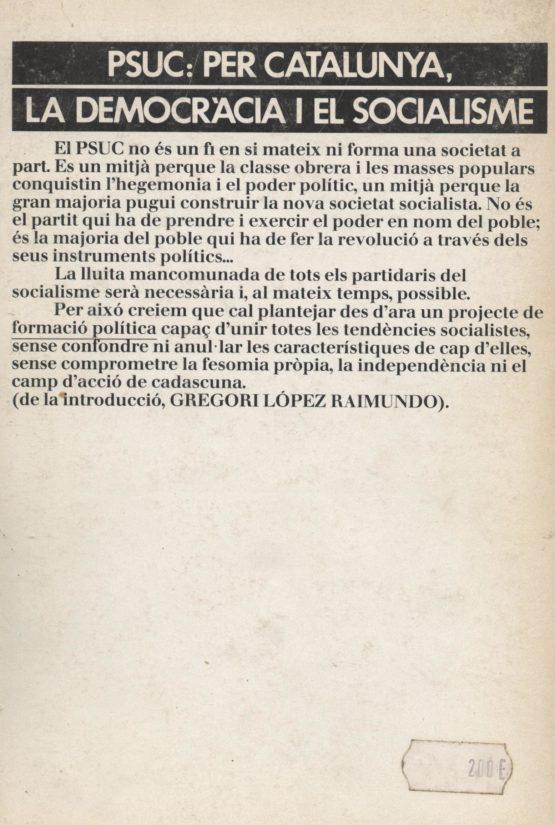 PSUC: Per Catalunya, la democràcia i el socialisme - Antoni Batista