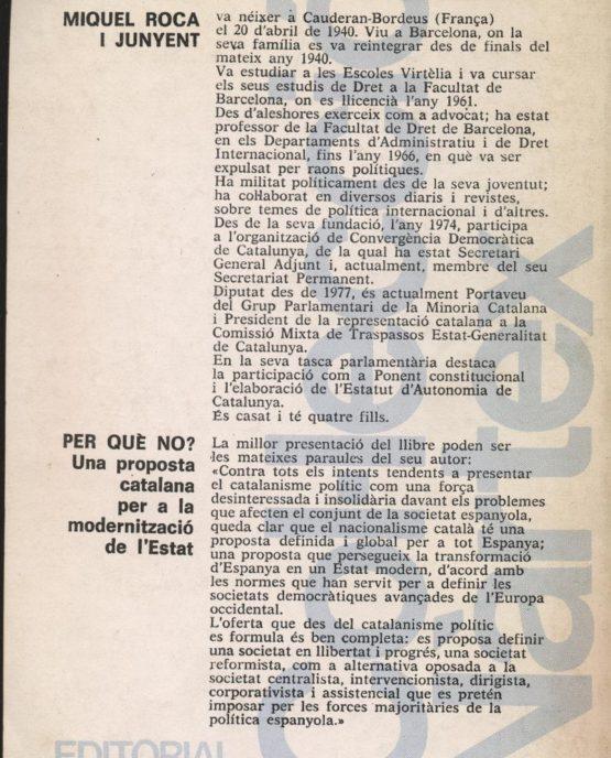 Venda online de llibres d'ocasió com Perquè no? de Miquel Roca i Junyent a bratac.cat